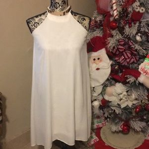 Oh la la Charlotte russe off white dress w gold.